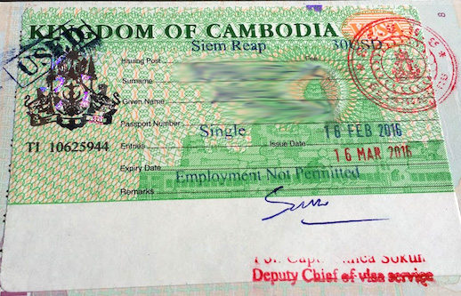 Wiza wjazdowa do Królestwa Kambodży na granicy tajsko-kambodżańskiej