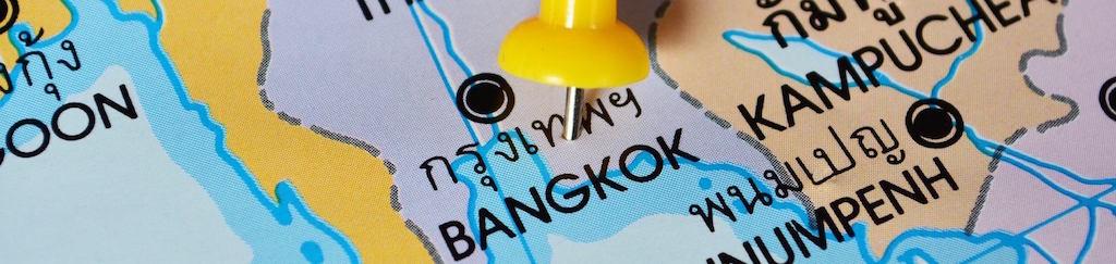 mapa Tajlandii z zaznaczonym Bangkokiem